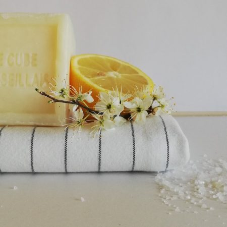 All natural cleaning products. Salt, lemon and towel.