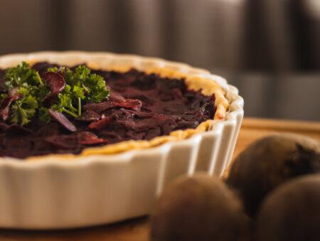 Vegan and gluten-free beetroot tart recipe